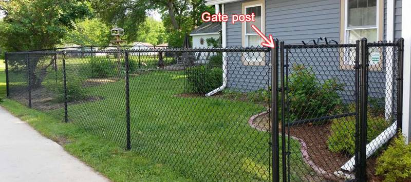 Black Chain Link Gate Post