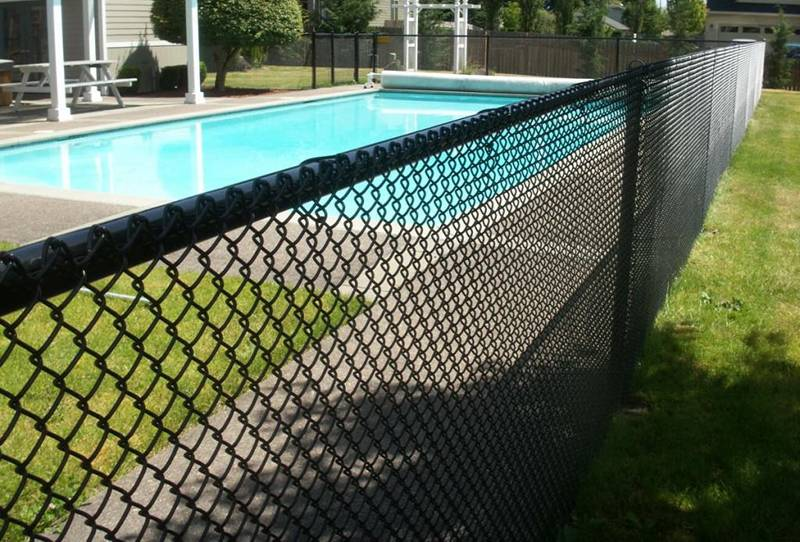 Black Chain Link Pool Fence