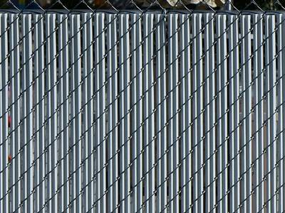 White Single Wall Slats Privacy Chain Link Fence